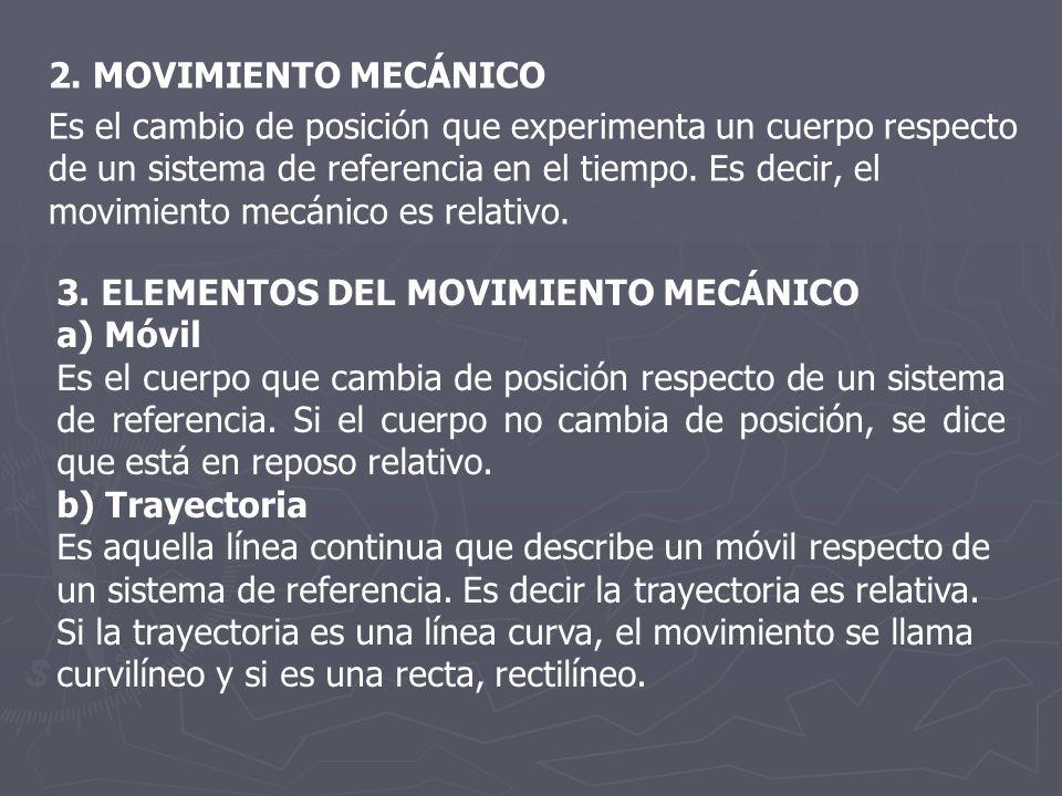 2. MOVIMIENTO MECÁNICO Es el cambio de posición que experimenta un cuerpo respecto de un sistema de referencia en el tiempo. Es decir, el movimiento m