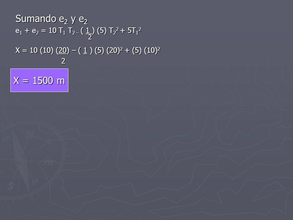 Sumando e 2 y e 2 e 1 + e 2 = 10 T 1 T 2 – ( 1 ) (5) T 2 2 + 5T 1 2 2 2 X = 10 (10) (20) – ( 1 ) (5) (20) 2 + (5) (10) 2 2 X = 1500 m