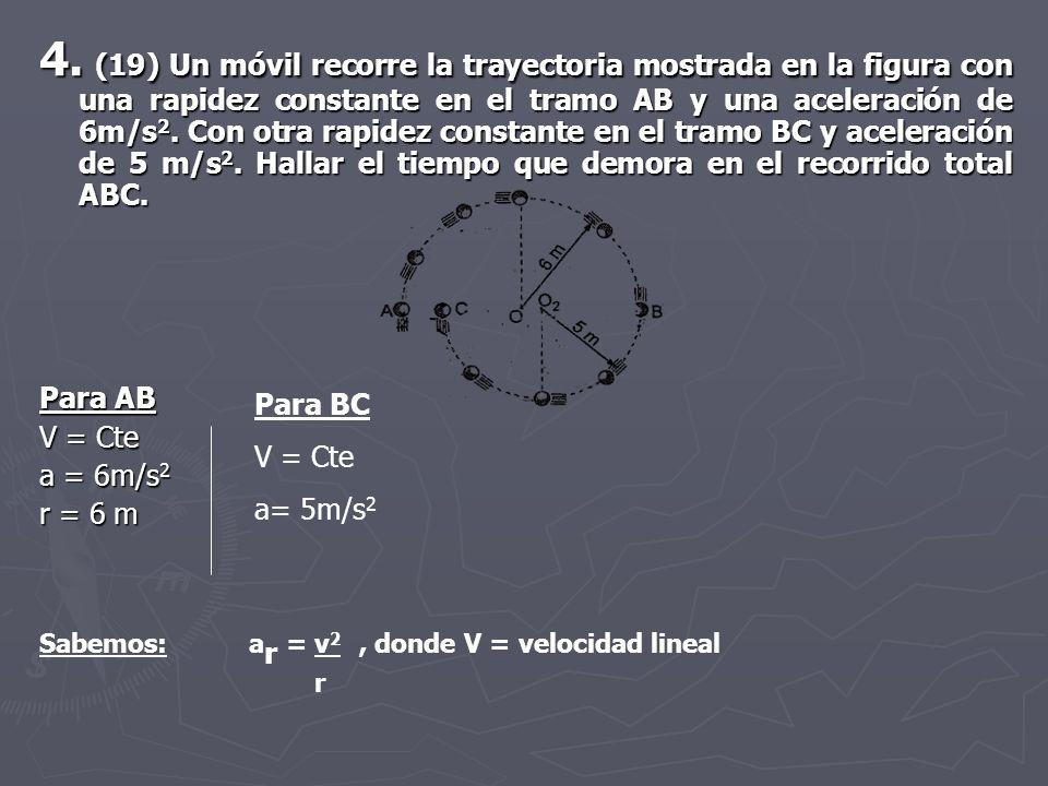 4. (19) Un móvil recorre la trayectoria mostrada en la figura con una rapidez constante en el tramo AB y una aceleración de 6m/s 2. Con otra rapidez c