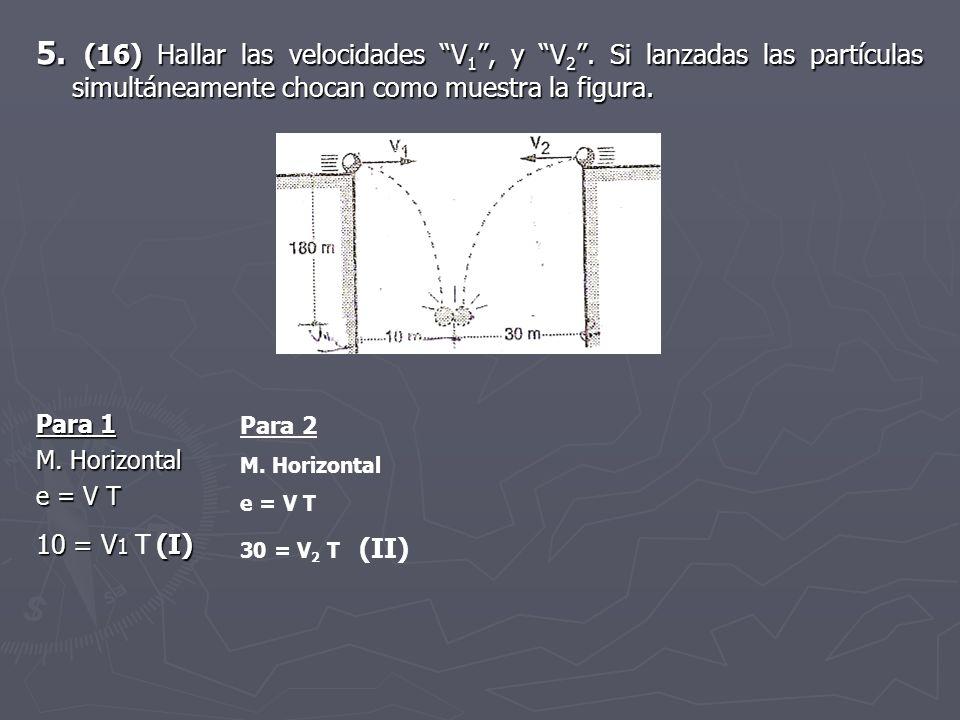 5. (16) Hallar las velocidades V 1, y V 2. Si lanzadas las partículas simultáneamente chocan como muestra la figura. Para 1 M. Horizontal e = V T 10 =