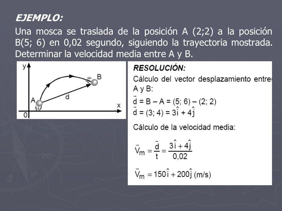 EJEMPLO: Una mosca se traslada de la posición A (2;2) a la posición B(5; 6) en 0,02 segundo, siguiendo la trayectoria mostrada. Determinar la velocida