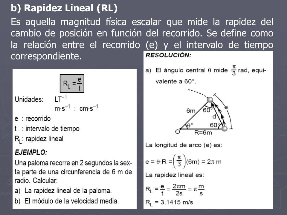 b) Rapidez Lineal (RL) Es aquella magnitud física escalar que mide la rapidez del cambio de posición en función del recorrido. Se define como la relac