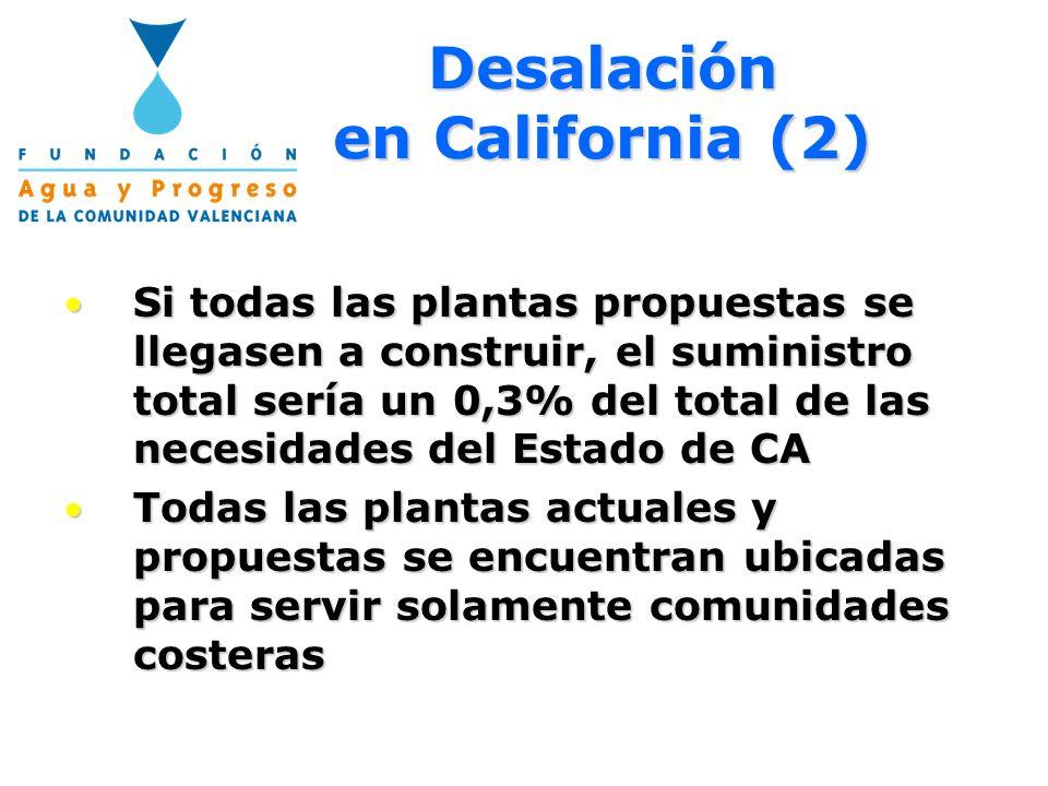 Desalación en California (2) Si todas las plantas propuestas se llegasen a construir, el suministro total sería un 0,3% del total de las necesidades d