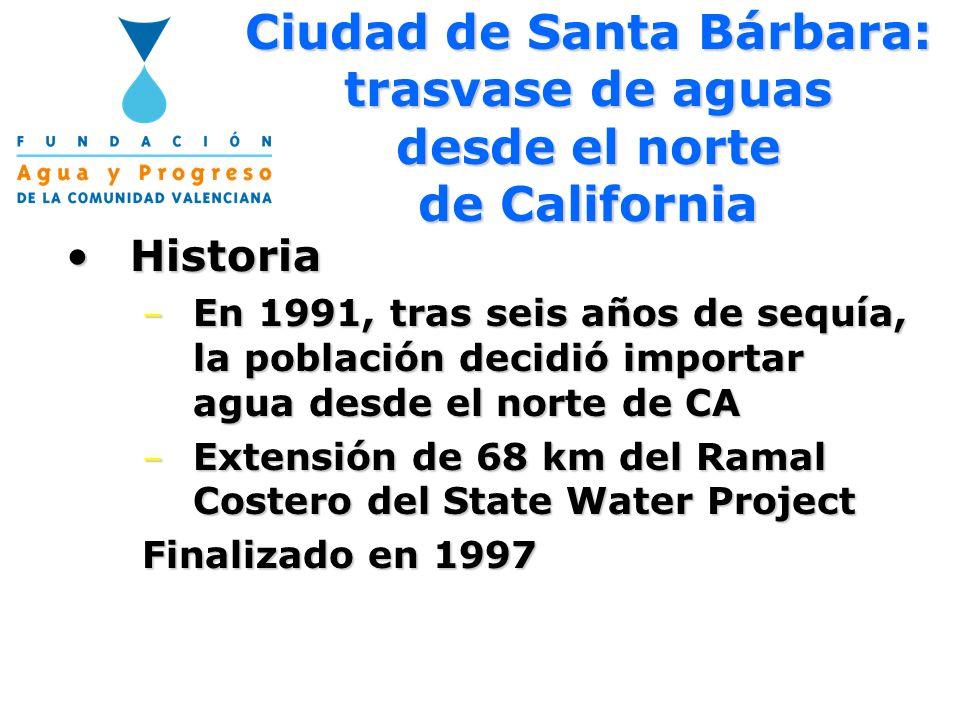 Ciudad de Santa Bárbara: trasvase de aguas desde el norte de California HistoriaHistoria – En 1991, tras seis años de sequía, la población decidió imp