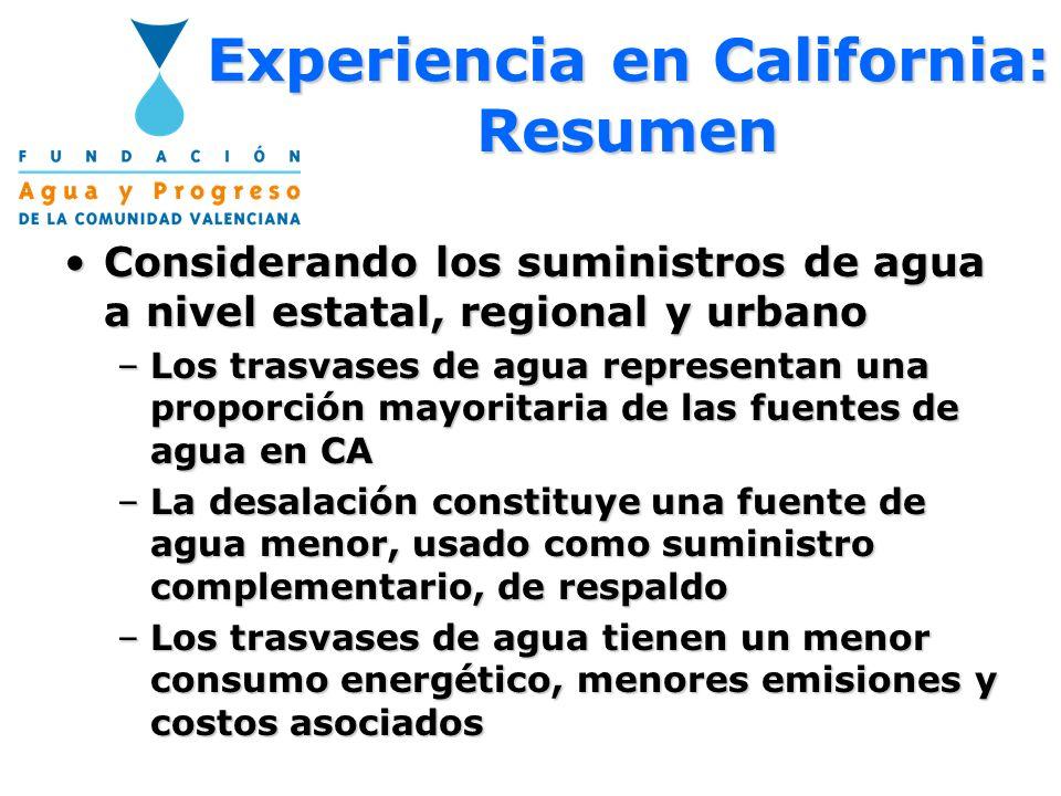 Experiencia en California: Resumen Considerando los suministros de agua a nivel estatal, regional y urbanoConsiderando los suministros de agua a nivel
