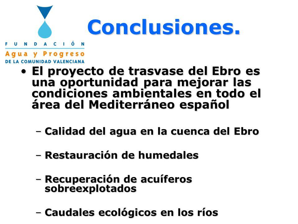 Conclusiones. El proyecto de trasvase del Ebro es una oportunidad para mejorar las condiciones ambientales en todo el área del Mediterráneo españolEl
