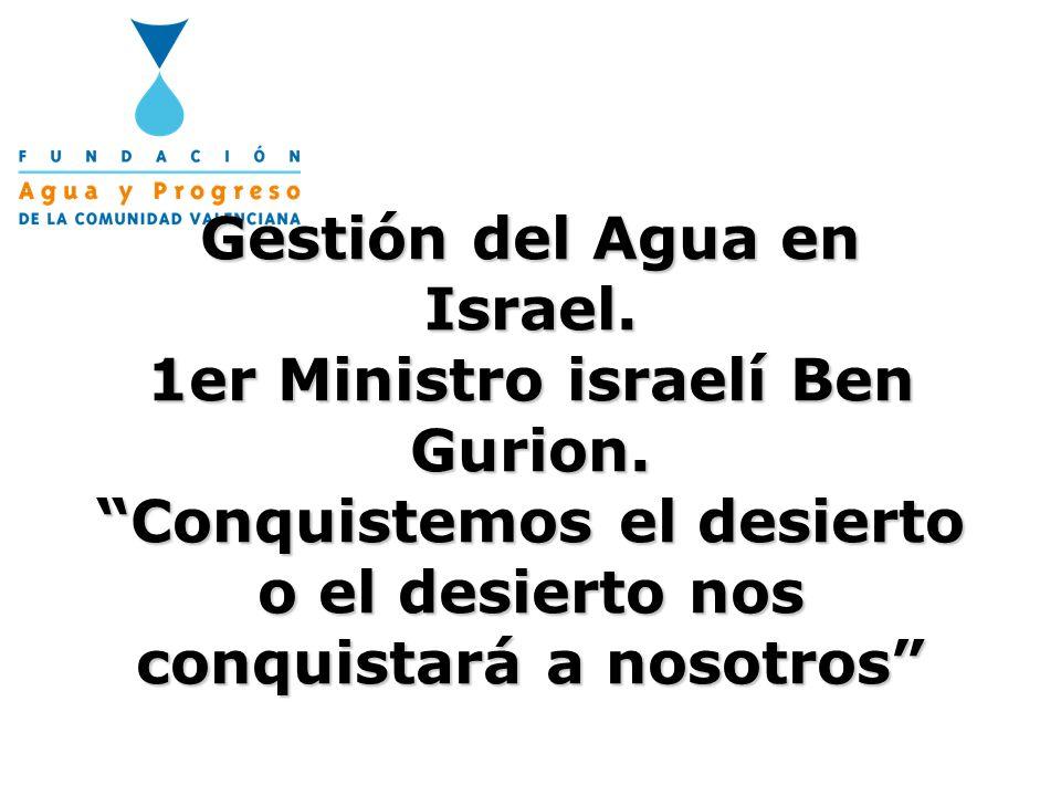 Gestión del Agua en Israel. 1er Ministro israelí Ben Gurion. Conquistemos el desierto o el desierto nos conquistará a nosotros