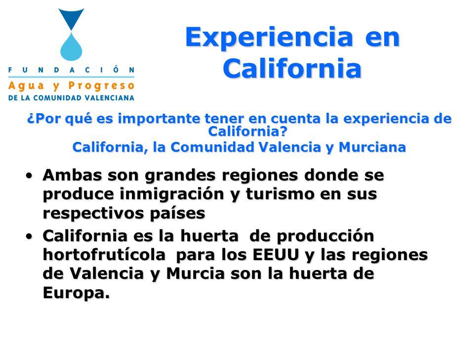 Experiencia en California ¿Por qué es importante tener en cuenta la experiencia de California? California, la Comunidad Valencia y Murciana Ambas son