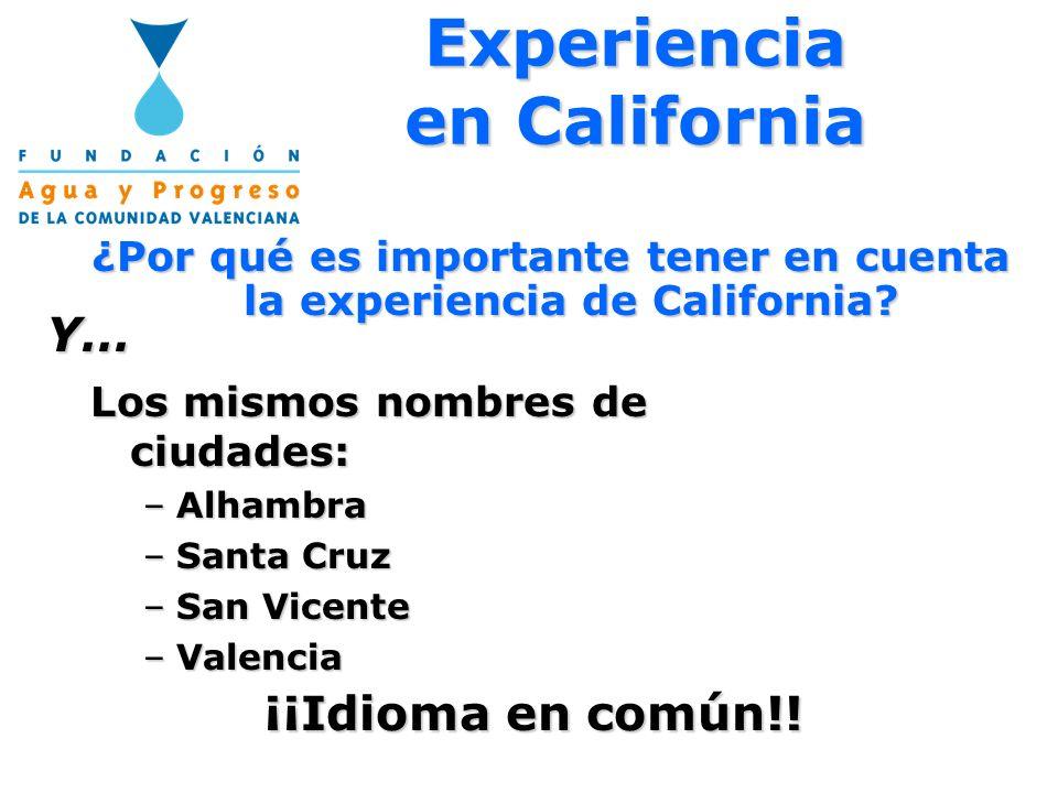 Los mismos nombres de ciudades: –Alhambra –Santa Cruz –San Vicente –Valencia Y… ¡¡Idioma en común!! Experiencia en California ¿Por qué es importante t