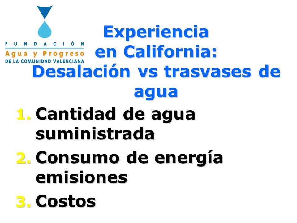 Promedio de suministro de agua en California (en hm 3 /año y porcentaje) Proyectos locales 13,630 hm 3 /año (24%) Otras fuentes superficiales 9,064 hm 3 /año (16%) Aguas subterráneas 15,404 hm 3 /año (27%) Desalación/Reuso 398 hm 3 /año (1%) Trasvases Inter-Cuencas 18,872 hm 3 /año (32%)
