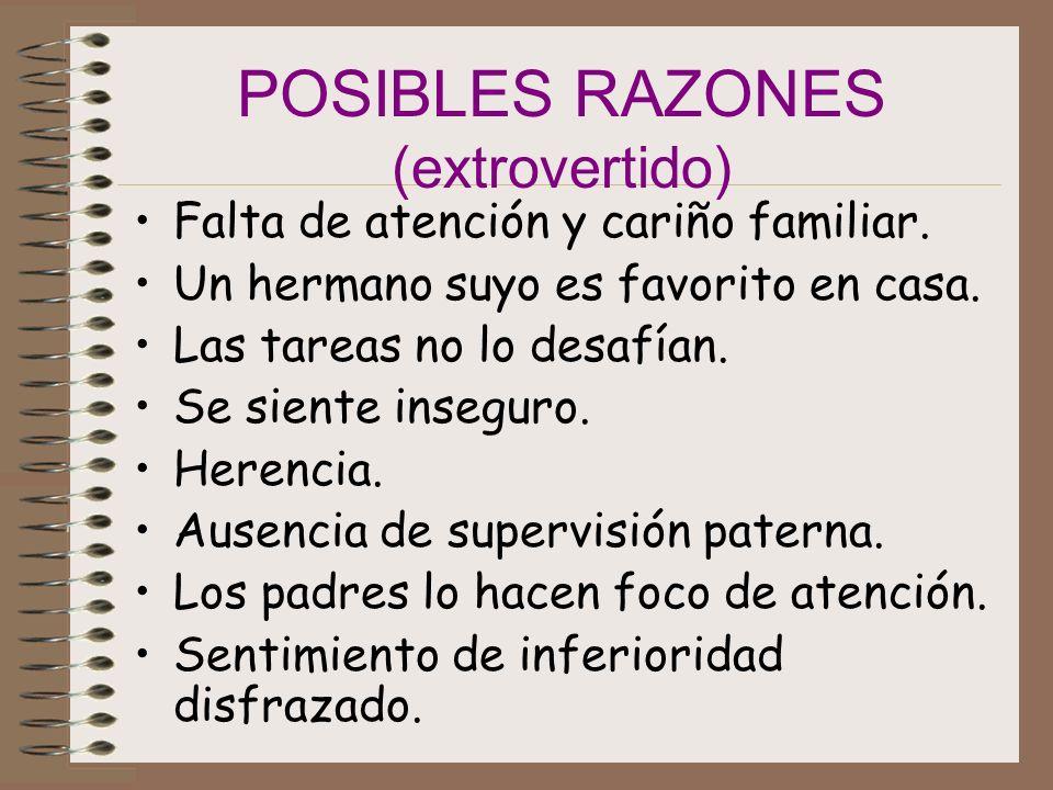 POSIBLES RAZONES (extrovertido) Falta de atención y cariño familiar.
