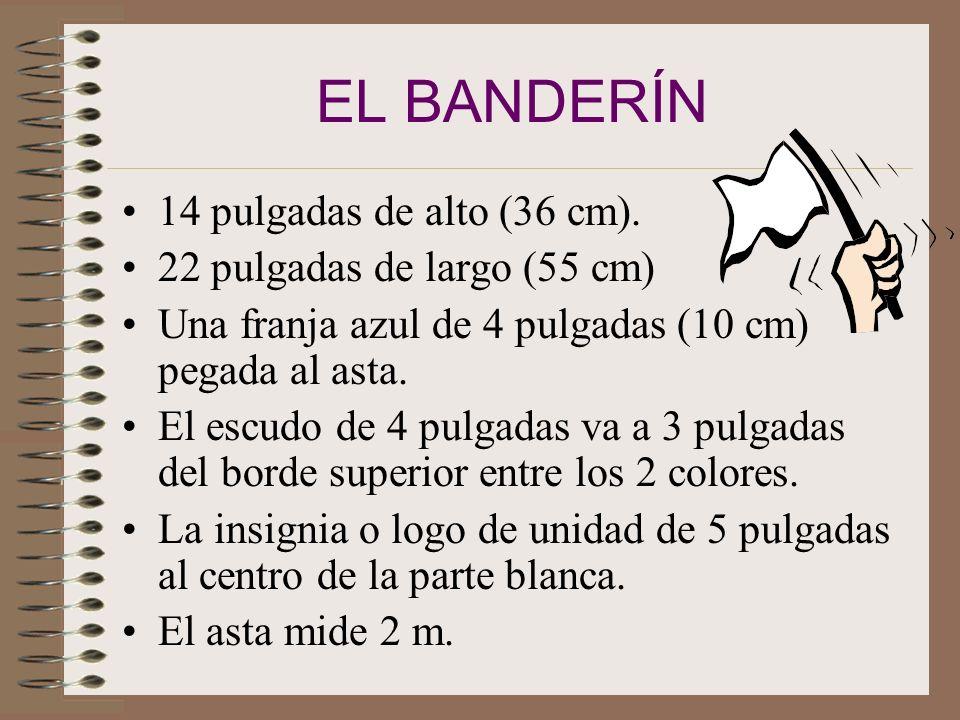 LA BANDERA DE CONQUISTADOR 3 pies de alto (90 cm). 4 ¼ pies de ancho (135cm). En el centro la insignia de conquistador. 4 cuadrantes: Superior derecho