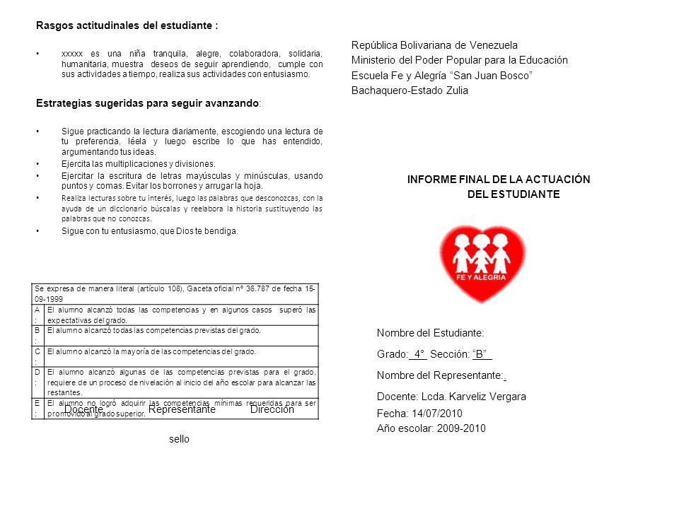 República Bolivariana de Venezuela Ministerio del Poder Popular para la Educación Escuela Fe y Alegría San Juan Bosco Bachaquero-Estado Zulia INFORME