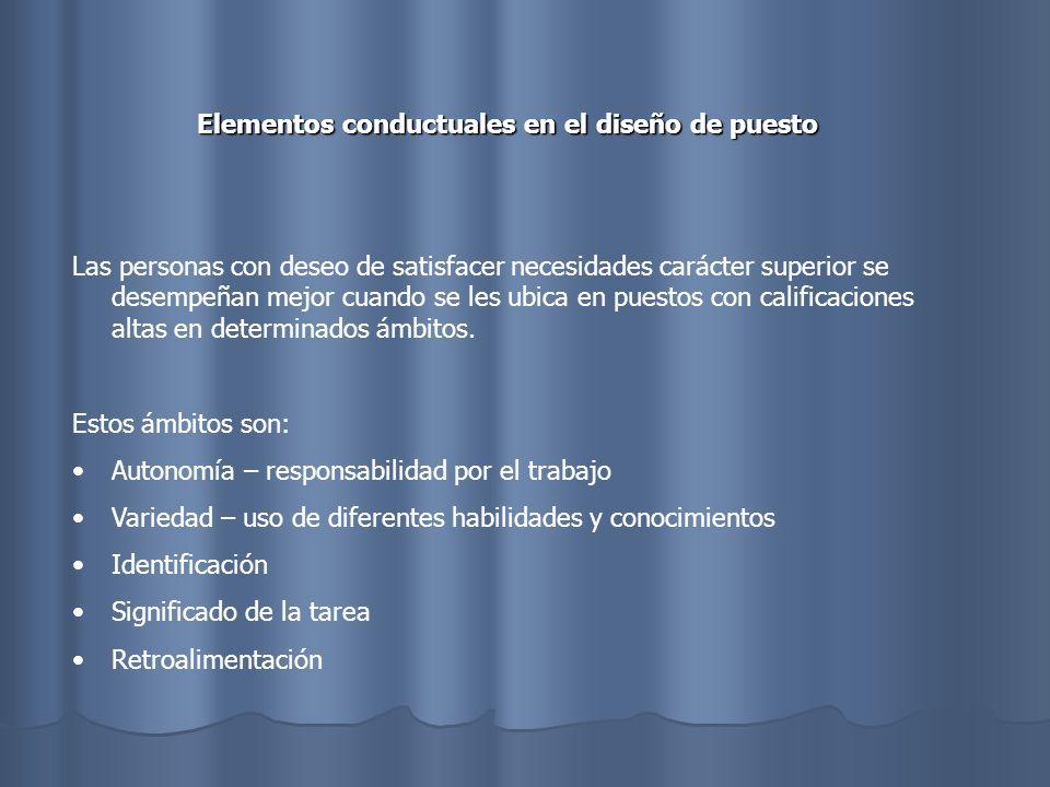 El equilibrio Adecuado entre los elementos conductuales y la eficiencia La productividad y la especialización.