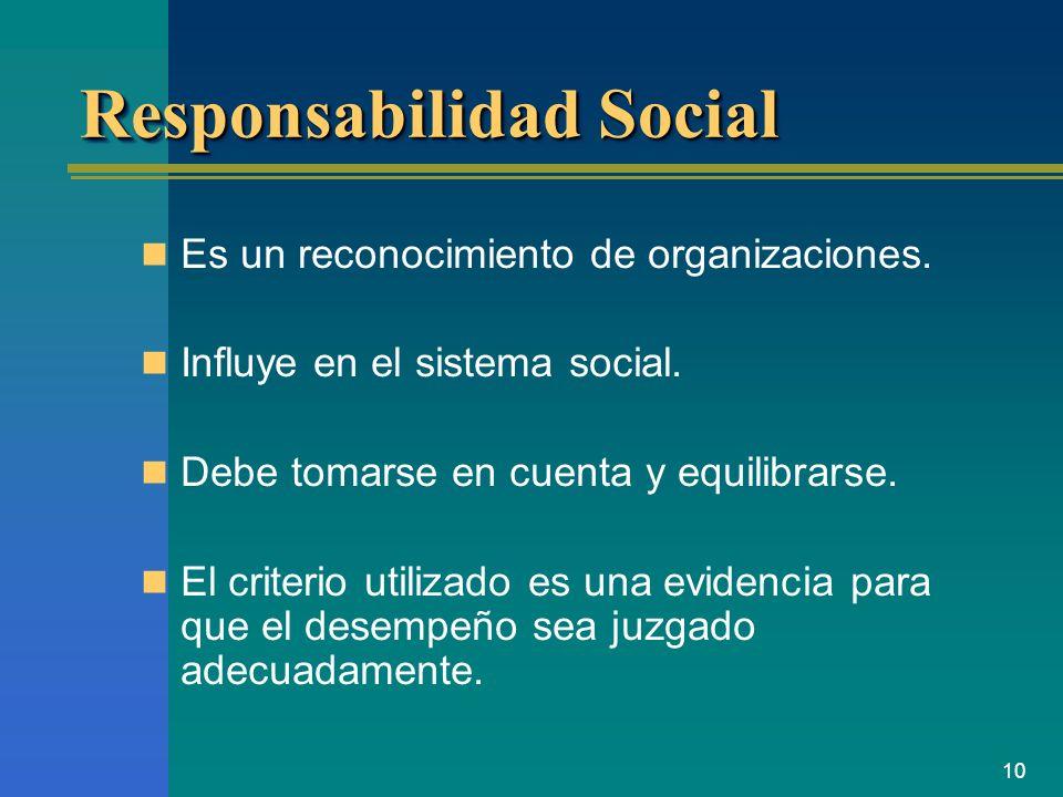 10 Responsabilidad Social Es un reconocimiento de organizaciones. Influye en el sistema social. Debe tomarse en cuenta y equilibrarse. El criterio uti