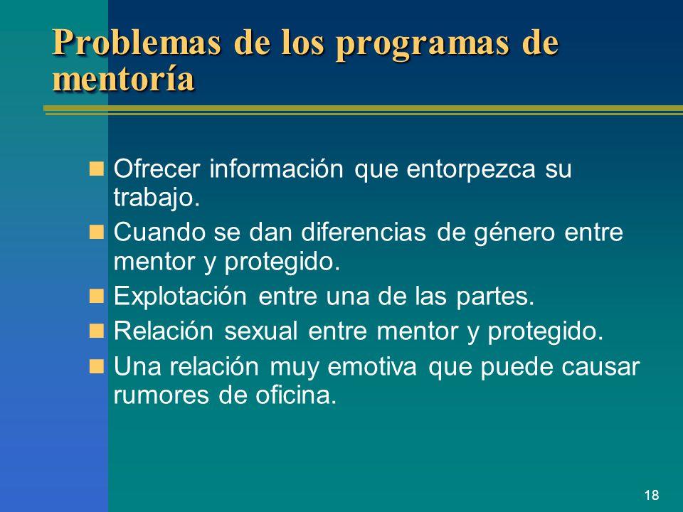 18 Problemas de los programas de mentoría Ofrecer información que entorpezca su trabajo. Cuando se dan diferencias de género entre mentor y protegido.
