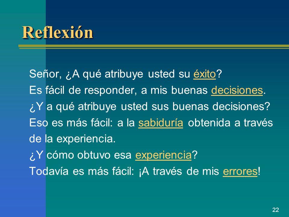 22 ReflexiónReflexión Señor, ¿A qué atribuye usted su éxito? Es fácil de responder, a mis buenas decisiones. ¿Y a qué atribuye usted sus buenas decisi