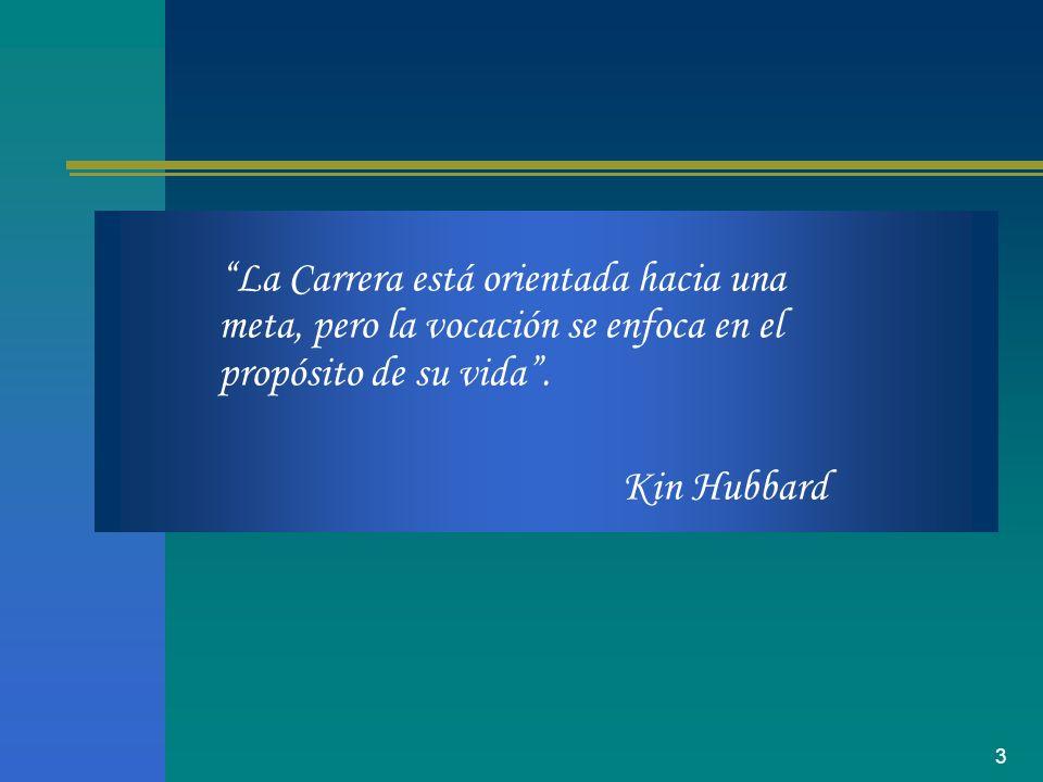 3 La Carrera está orientada hacia una meta, pero la vocación se enfoca en el propósito de su vida. Kin Hubbard