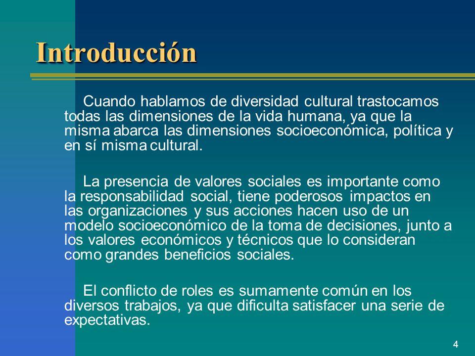 4 IntroducciónIntroducción Cuando hablamos de diversidad cultural trastocamos todas las dimensiones de la vida humana, ya que la misma abarca las dime