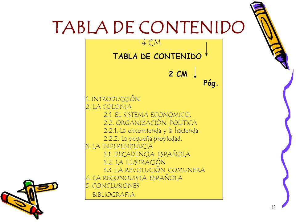 11 TABLA DE CONTENIDO 4 CM TABLA DE CONTENIDO 2 CM Pág. 1. INTRODUCCIÓN 2. LA COLONIA 2.1. EL SISTEMA ECONOMICO. 2.2. ORGANIZACIÓN POLITICA 2.2.1. La