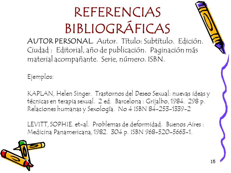 16 REFERENCIAS BIBLIOGRÁFICAS AUTOR CORPORATIVO.