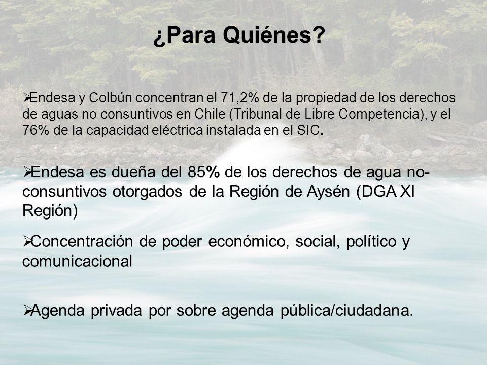 Endesa y Colbún concentran el 71,2% de la propiedad de los derechos de aguas no consuntivos en Chile (Tribunal de Libre Competencia), y el 76% de la c