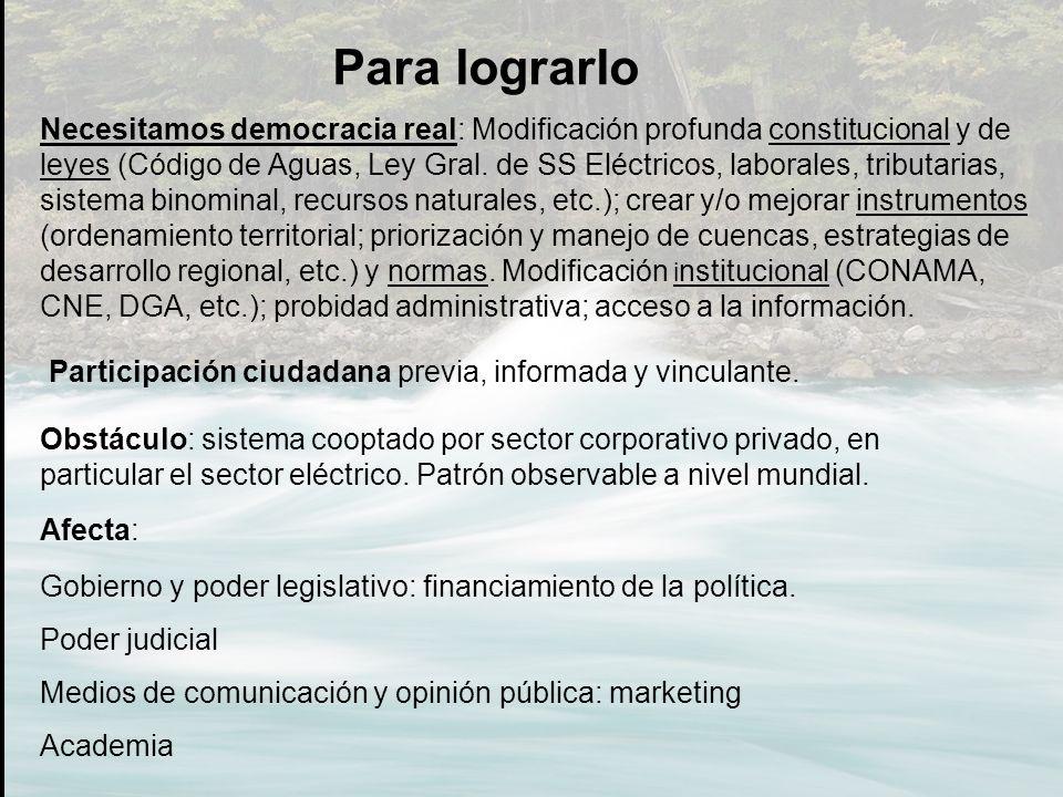 Participación ciudadana previa, informada y vinculante. Para lograrlo Necesitamos democracia real: Modificación profunda constitucional y de leyes (Có
