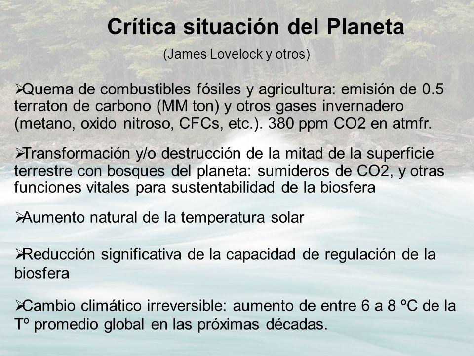 (James Lovelock y otros) Quema de combustibles fósiles y agricultura: emisión de 0.5 terraton de carbono (MM ton) y otros gases invernadero (metano, o