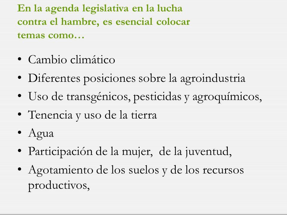 En la agenda legislativa en la lucha contra el hambre, es esencial colocar temas como… Cambio climático Diferentes posiciones sobre la agroindustria Uso de transgénicos, pesticidas y agroquímicos, Tenencia y uso de la tierra Agua Participación de la mujer, de la juventud, Agotamiento de los suelos y de los recursos productivos,