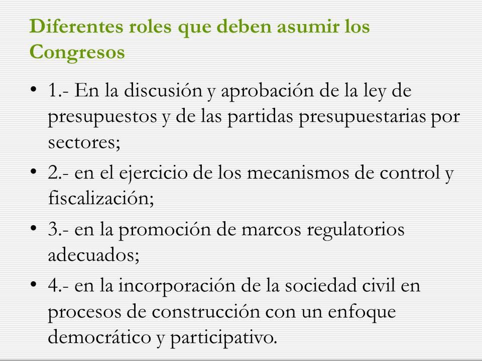Diferentes roles que deben asumir los Congresos 1.- En la discusión y aprobación de la ley de presupuestos y de las partidas presupuestarias por secto