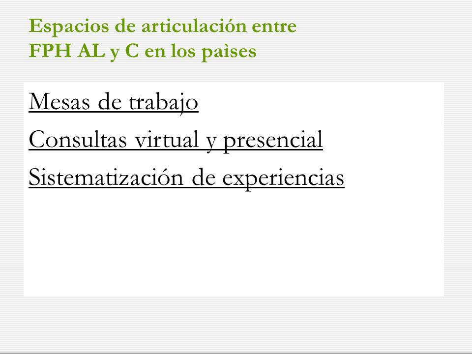 Espacios de articulación entre FPH AL y C en los paìses Mesas de trabajo Consultas virtual y presencial Sistematización de experiencias