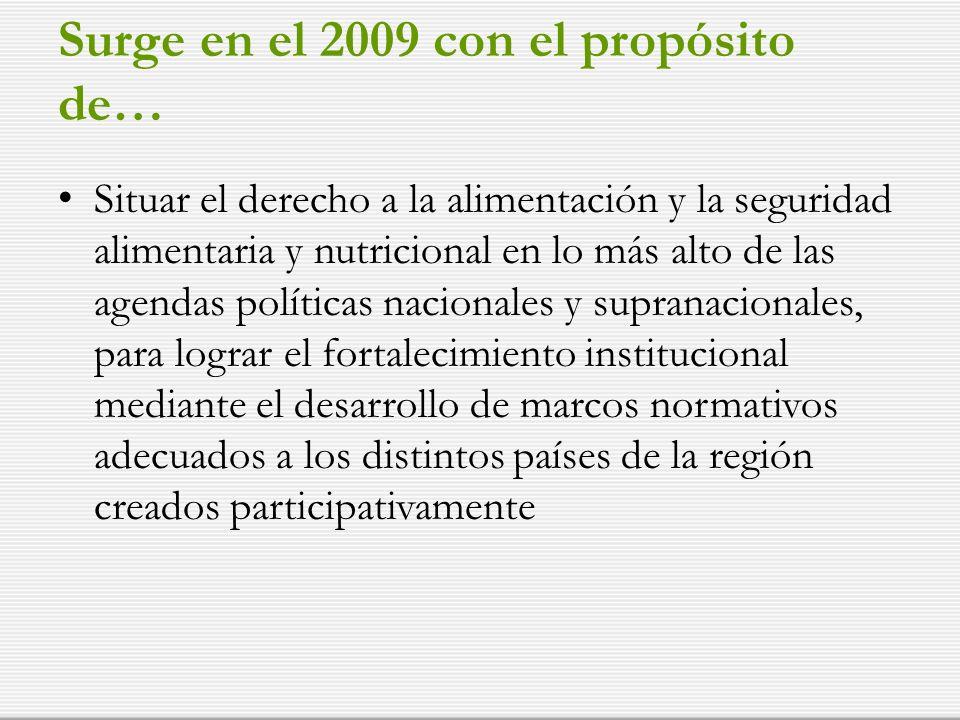 Surge en el 2009 con el propósito de… Situar el derecho a la alimentación y la seguridad alimentaria y nutricional en lo más alto de las agendas políticas nacionales y supranacionales, para lograr el fortalecimiento institucional mediante el desarrollo de marcos normativos adecuados a los distintos países de la región creados participativamente