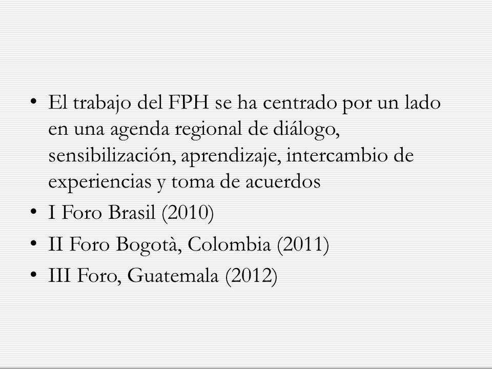 El trabajo del FPH se ha centrado por un lado en una agenda regional de diálogo, sensibilización, aprendizaje, intercambio de experiencias y toma de a