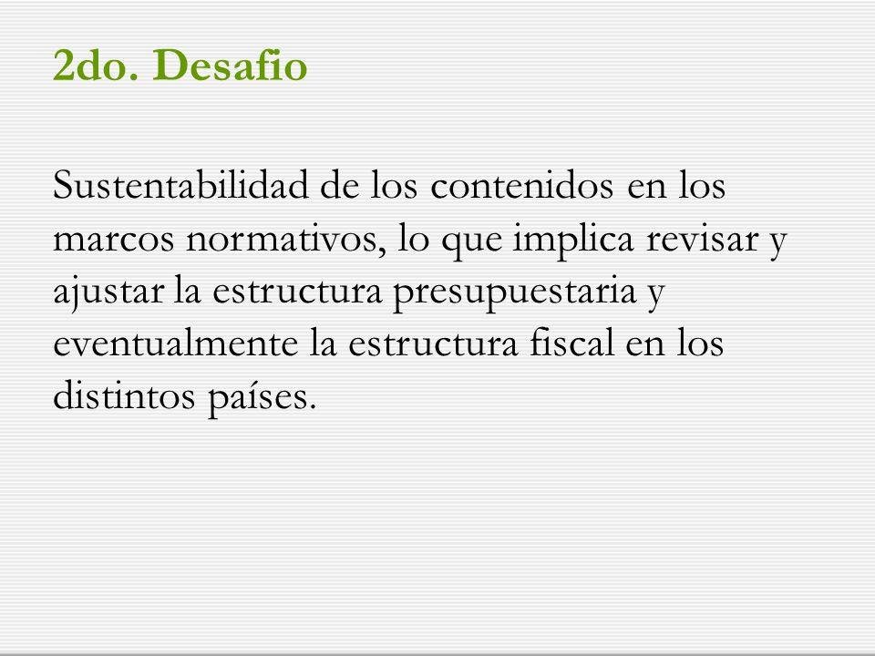 2do. Desafio Sustentabilidad de los contenidos en los marcos normativos, lo que implica revisar y ajustar la estructura presupuestaria y eventualmente