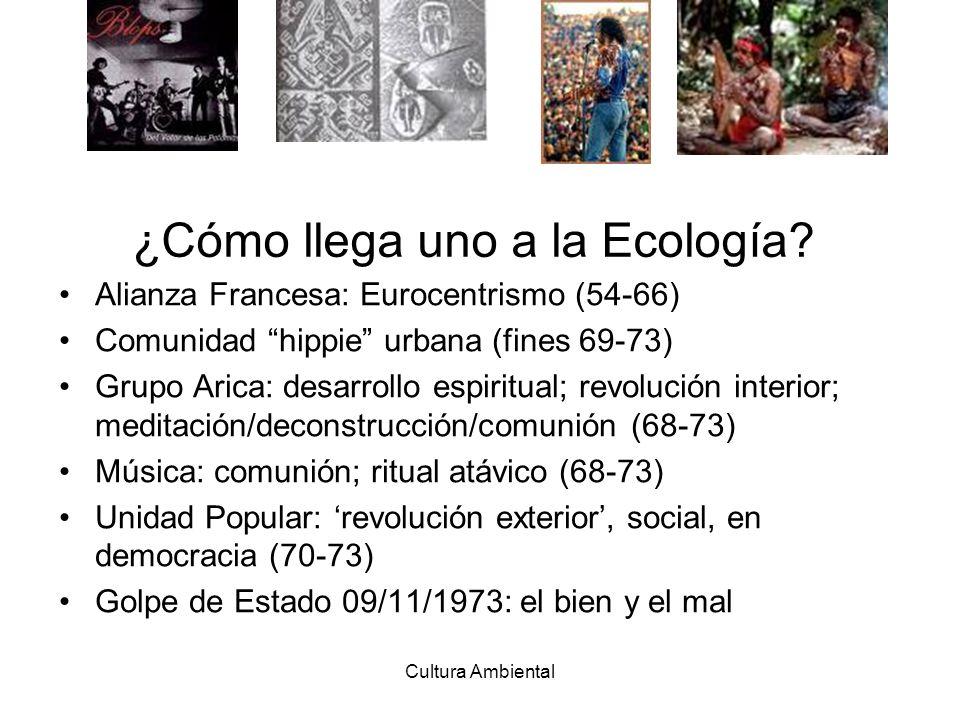 ¿Cómo llega uno a la Ecología? Alianza Francesa: Eurocentrismo (54-66) Comunidad hippie urbana (fines 69-73) Grupo Arica: desarrollo espiritual; revol