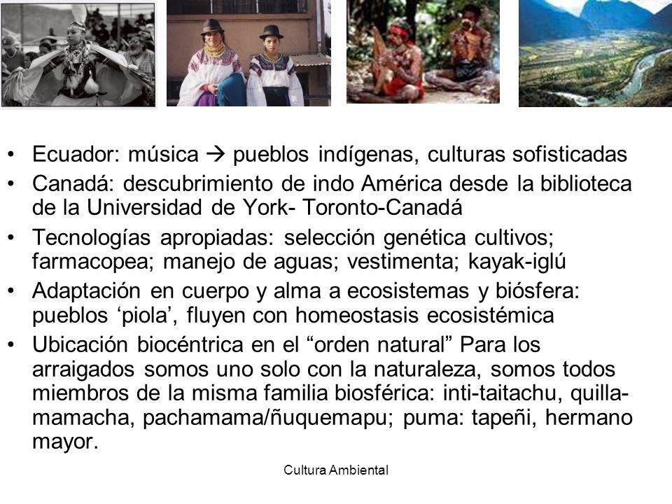 Cultura Ambiental Ecuador: música pueblos indígenas, culturas sofisticadas Canadá: descubrimiento de indo América desde la biblioteca de la Universida