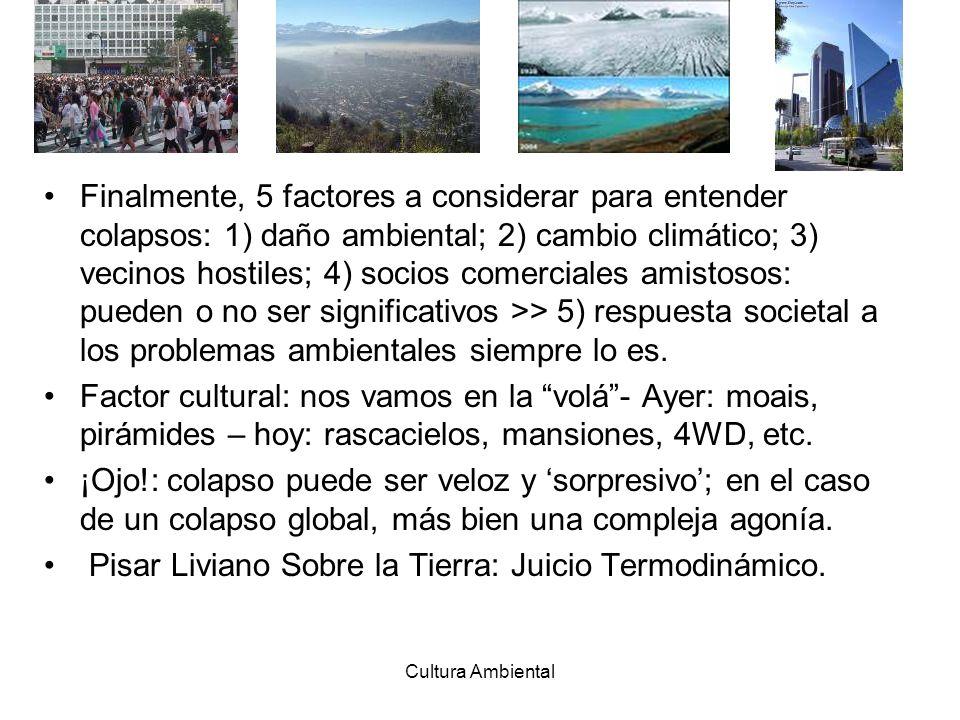 Cultura Ambiental Finalmente, 5 factores a considerar para entender colapsos: 1) daño ambiental; 2) cambio climático; 3) vecinos hostiles; 4) socios c