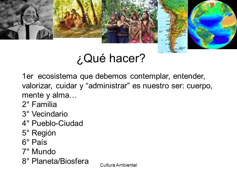 Cultura Ambiental 1er ecosistema que debemos contemplar, entender, valorizar, cuidar y administrar es nuestro ser: cuerpo, mente y alma… 2° Familia 3°