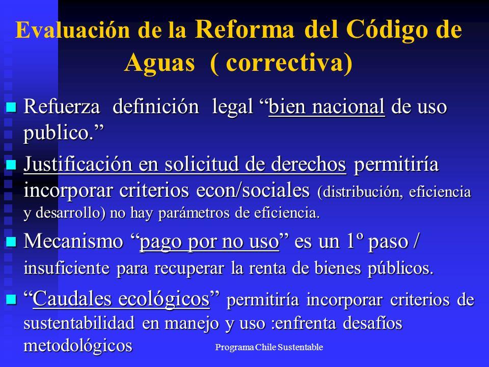 Programa Chile Sustentable Evaluación de la Reforma del Código de Aguas ( correctiva) Refuerza definición legal bien nacional de uso publico. Refuerza