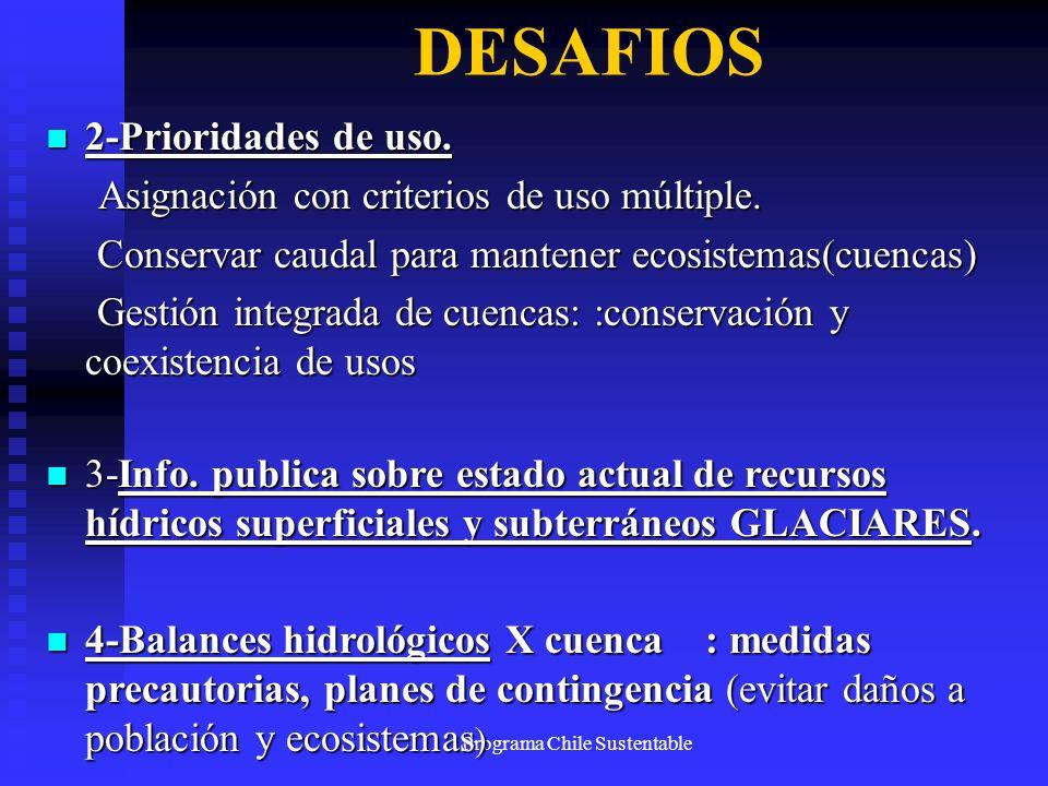 Programa Chile Sustentable DESAFIOS 2-Prioridades de uso. 2-Prioridades de uso. Asignación con criterios de uso múltiple. Asignación con criterios de