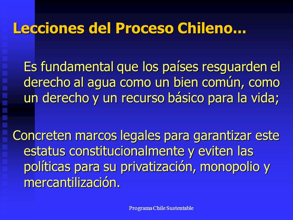 Programa Chile Sustentable Lecciones del Proceso Chileno... Es fundamental que los países resguarden el derecho al agua como un bien común, como un de
