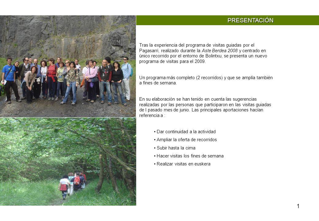 1 PRESENTACIÓN Tras la experiencia del programa de visitas guiadas por el Pagasarri, realizado durante la Aste Berdea 2008 y centrado en único recorri