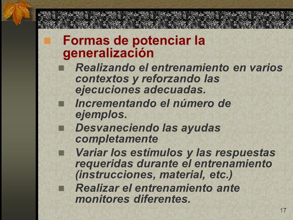 17 Formas de potenciar la generalización Realizando el entrenamiento en varios contextos y reforzando las ejecuciones adecuadas. Incrementando el núme