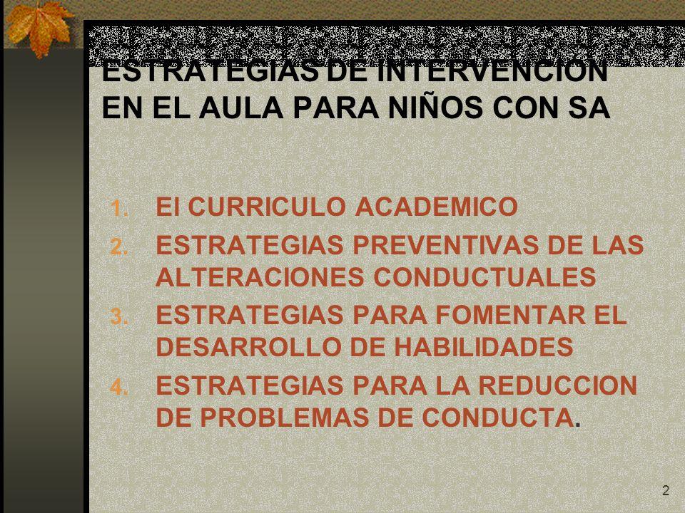 2 ESTRATEGIAS DE INTERVENCIÓN EN EL AULA PARA NIÑOS CON SA 1. El CURRICULO ACADEMICO 2. ESTRATEGIAS PREVENTIVAS DE LAS ALTERACIONES CONDUCTUALES 3. ES