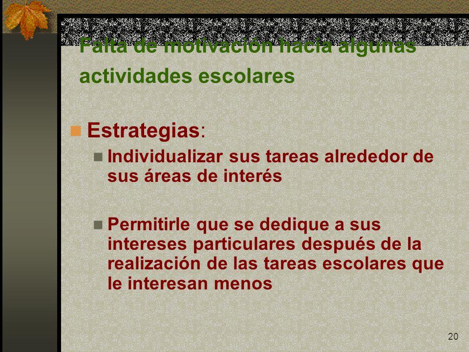 20 Falta de motivación hacia algunas actividades escolares Estrategias: Individualizar sus tareas alrededor de sus áreas de interés Permitirle que se