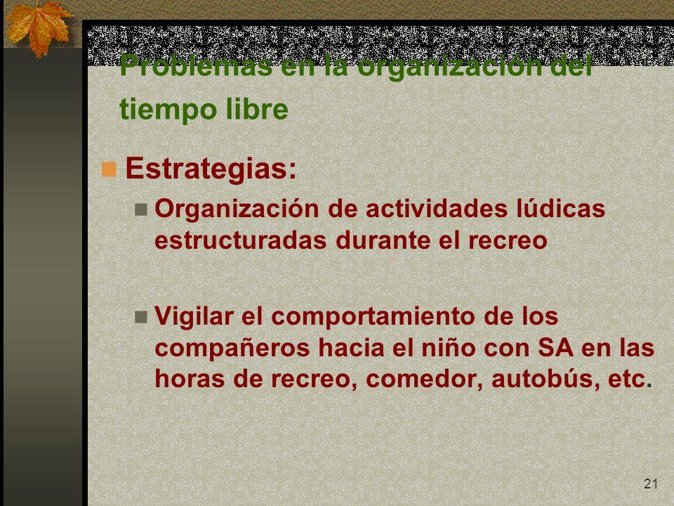 21 Problemas en la organización del tiempo libre Estrategias: Organización de actividades lúdicas estructuradas durante el recreo Vigilar el comportam