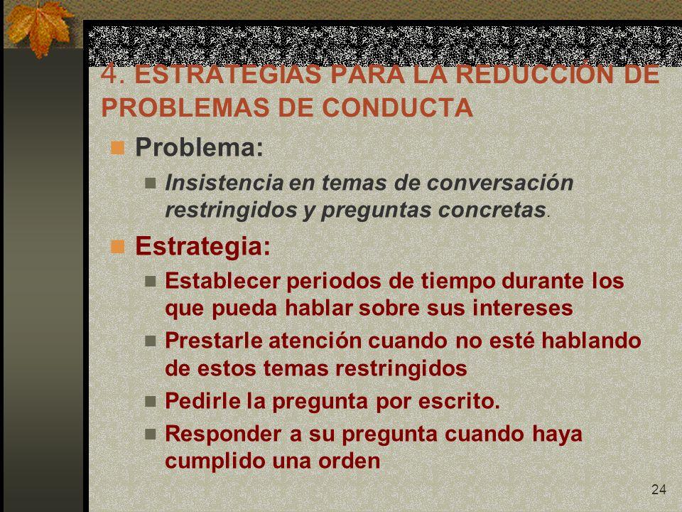 24 4. ESTRATEGIAS PARA LA REDUCCIÓN DE PROBLEMAS DE CONDUCTA Problema: Insistencia en temas de conversación restringidos y preguntas concretas. Estrat