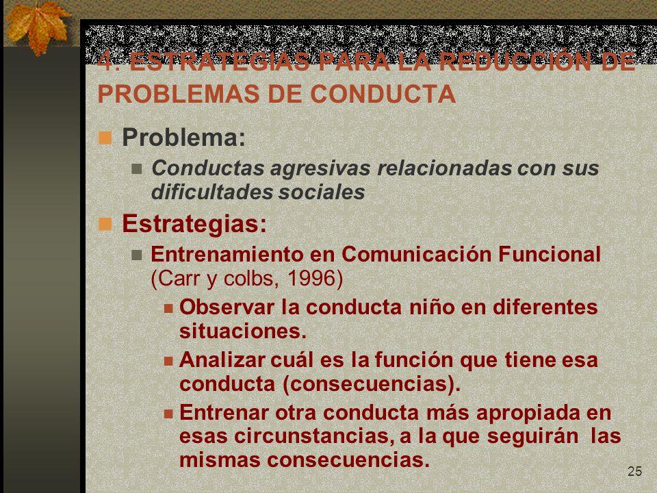 25 4. ESTRATEGIAS PARA LA REDUCCIÓN DE PROBLEMAS DE CONDUCTA Problema: Conductas agresivas relacionadas con sus dificultades sociales Estrategias: Ent