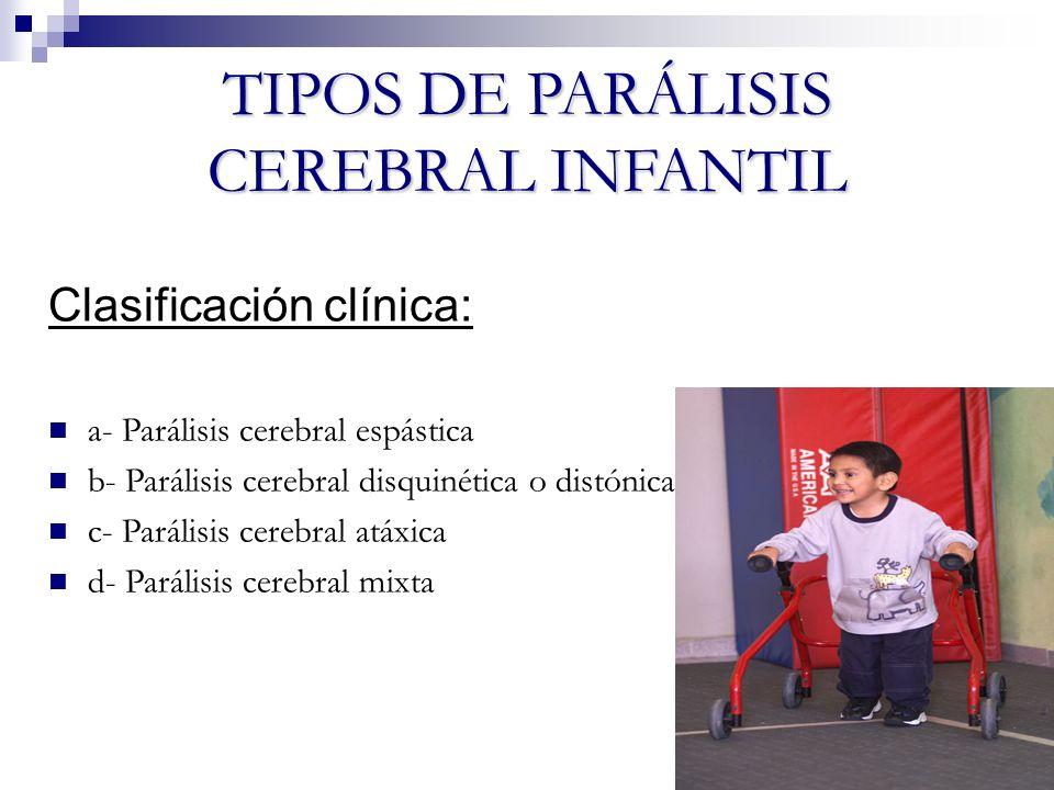 TIPOS DE PARÁLISIS CEREBRAL INFANTIL Clasificación clínica: a- Parálisis cerebral espástica b- Parálisis cerebral disquinética o distónica c- Parálisi