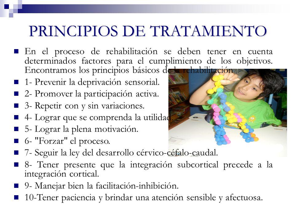 PRINCIPIOS DE TRATAMIENTO En el proceso de rehabilitación se deben tener en cuenta determinados factores para el cumplimiento de los objetivos. Encont